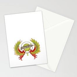 Lime in the coconut and two scarlet macaws. Stationery Cards