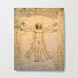 Vitruvian Man by Leonardo da Vinci Metal Print