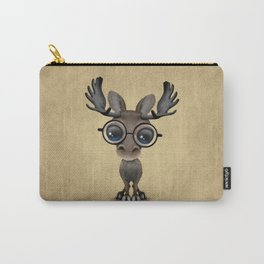Cute Curious Baby Moose Nerd Wearing Glasses Carry-All Pouch