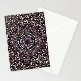 Pink Mosaic Window Mandala Stationery Cards