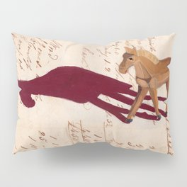 Vintage Wood Carved Horse in Gouache Pillow Sham