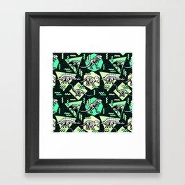 90's Dinosaur Skeleton Neon Pattern Framed Art Print