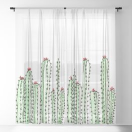 Watercolor Spiny Cactus 1 Sheer Curtain