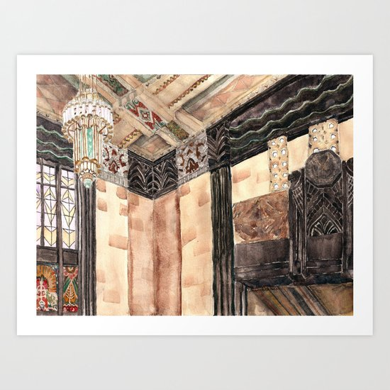 inside the Art Deco spaceship Art Print