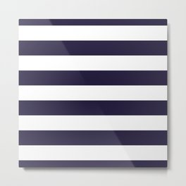 Dark eclipse Blue and White Wide Horizontal Cabana Tent Stripe Metal Print