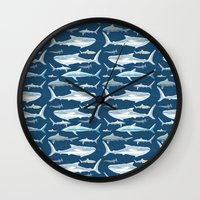 sharks Wall Clocks featuring Sharks by Miranda Montes