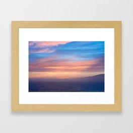 Blue Dreams Sunset - Ocean Sunset, Landscape, Scenery, Beautiful Orange Yellow Framed Art Print