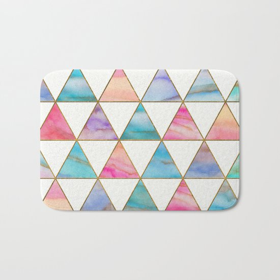 Marble Triangles Pattern Bath Mat