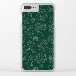 Dark Green Succulent Flower Garden Clear iPhone Case