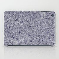 bedding iPad Cases featuring Held Together - a pattern of navy blue doodles by micklyn