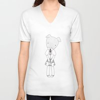 jack russell V-neck T-shirts featuring LOLO THE JACK RUSSELL TERRIER by miseyu