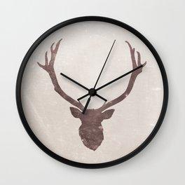 Deer stag silhouette grunge design Wall Clock
