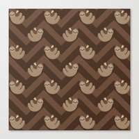 sloths Canvas Prints featuring Sloths on chevrons by Petits Pixels