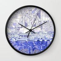washington dc Wall Clocks featuring washington dc city skyline by Bekim ART