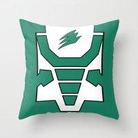 power ranger Throw Pillows featuring Green Spirit Ranger by JoSumdac