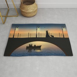 Romantic meeting by the river in the sunset Rug