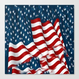 "ORIGINAL  AMERICANA FLAG ART ""STARS N' BARS"" PATTERNS Canvas Print"
