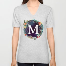 Personalized Monogram Initial Letter M Floral Wreath Artwork Unisex V-Neck