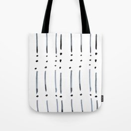 black and white dots and dashes boho modern Tote Bag