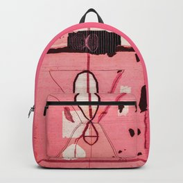 Black and Pink Boho Traditional Moroccan Vintage Artwork. Backpack