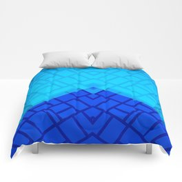 Blue Brick Two Tone Pattern Comforters