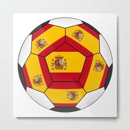 Soccer ball with Spanish flag Metal Print