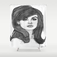 cassandra jean Shower Curtains featuring Jean Shrimpton by Paul Nelson-Esch Art