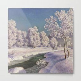 Winter Morning, After New Snow, Along the Emerald Stream by Ivan Fedorovich Choultsé Metal Print