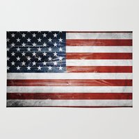 american flag Area & Throw Rugs featuring American flag by Nicklas Gustafsson