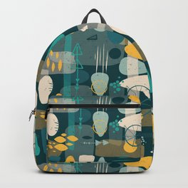 Mid Century Shapes Pattern Blue Backpack