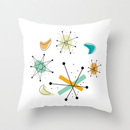 Vintage Mid Century Modern Pattern Shapes Throw Pillow