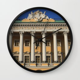 Saint-Petersburg Architecture. Building Facade with pillars. Wall Clock