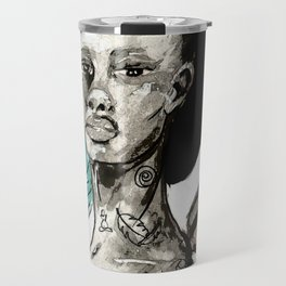 Femme à la crête bleue Travel Mug