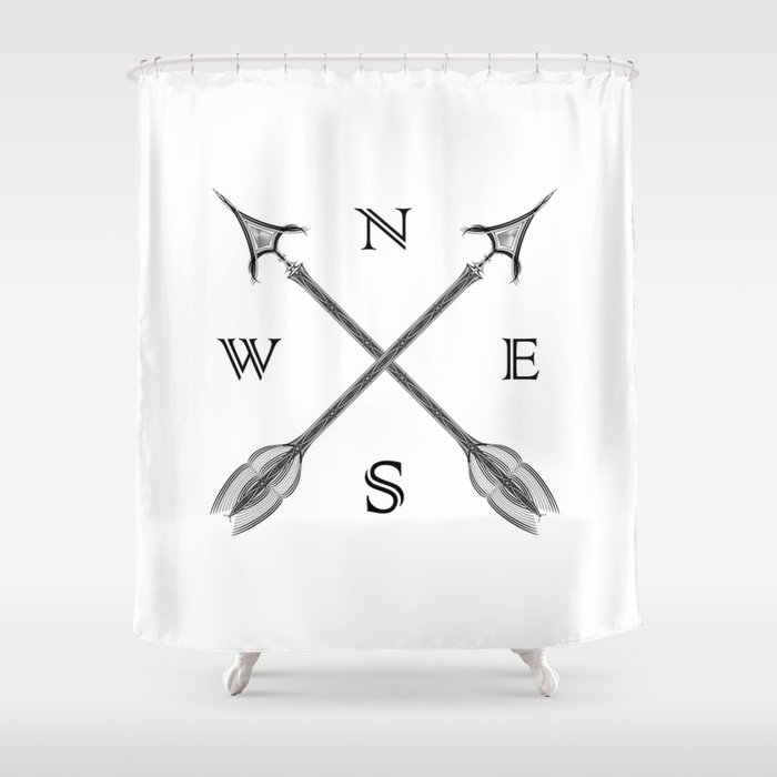 Arrow Compass Shower Curtain