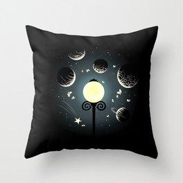 A little night universe Throw Pillow