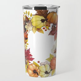 Autumn wreath of pumpkins, acorns and leaves Travel Mug