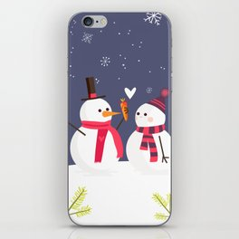 Snowman has a crush for Christmas iPhone Skin