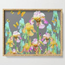 YELLOW BUTTERFLIES SPRING  IRIS GARDEN ART Serving Tray
