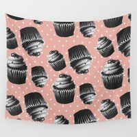 cupcakes Wall Tapestries featuring VINTAGE CUPCAKES 2 by Allyson Johnson