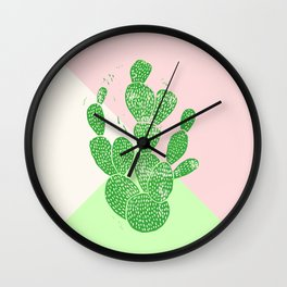 Linocut Cactus Tricolori Wall Clock