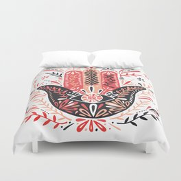 Hamsa Hand – Red & Black Palette Duvet Cover