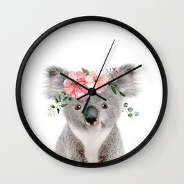 Baby Koala with Flower Crown Wall Clock