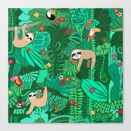 Sloths in the Emerald Jungle Pattern Canvas Print