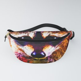raccoon watercolor splatters Fanny Pack