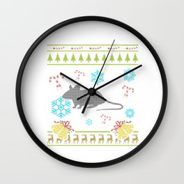 Ugly Sweater Christmas Shirt Mouse As A Pet Mice Wall Clock