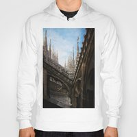 spires Hoodies featuring Duomo di Milano spires by Marc Daly
