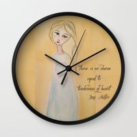 jane austen Wall Clocks featuring Jane Austen Emma by Artist Gaya