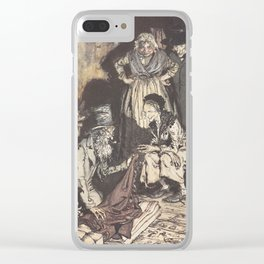 """Arthur Rackham - Dickens' Christmas Carol (1915): """"What do you call this, bed-curtains?"""" Clear iPhone Case"""