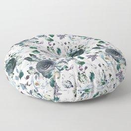 Botanical navy blue gray green watercolor peonies motif Floor Pillow