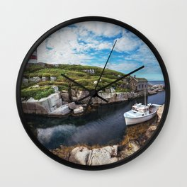 Moored at the Lighthouse Wall Clock